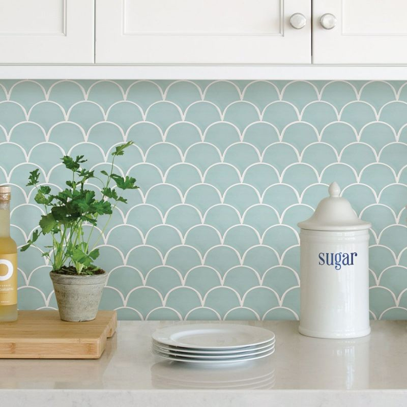 Shell Peel & Stick Blacksplash Adhesive Wall Tiles