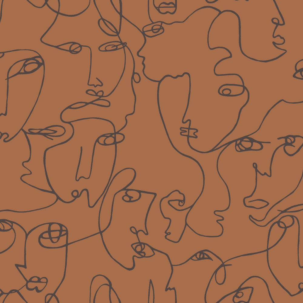 Abstract Faces Wallpaper Burnt Orange