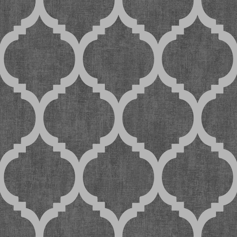 Zara Trellis Metallic Wallpaper Black