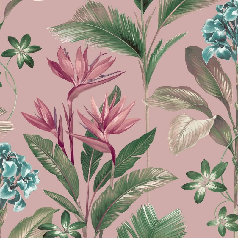 Oliana Floral Wallpaper Pink