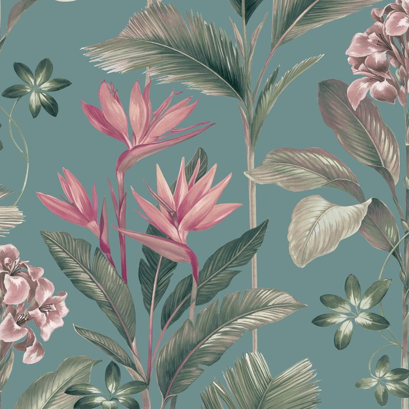 Oliana Floral Wallpaper Soft Teal
