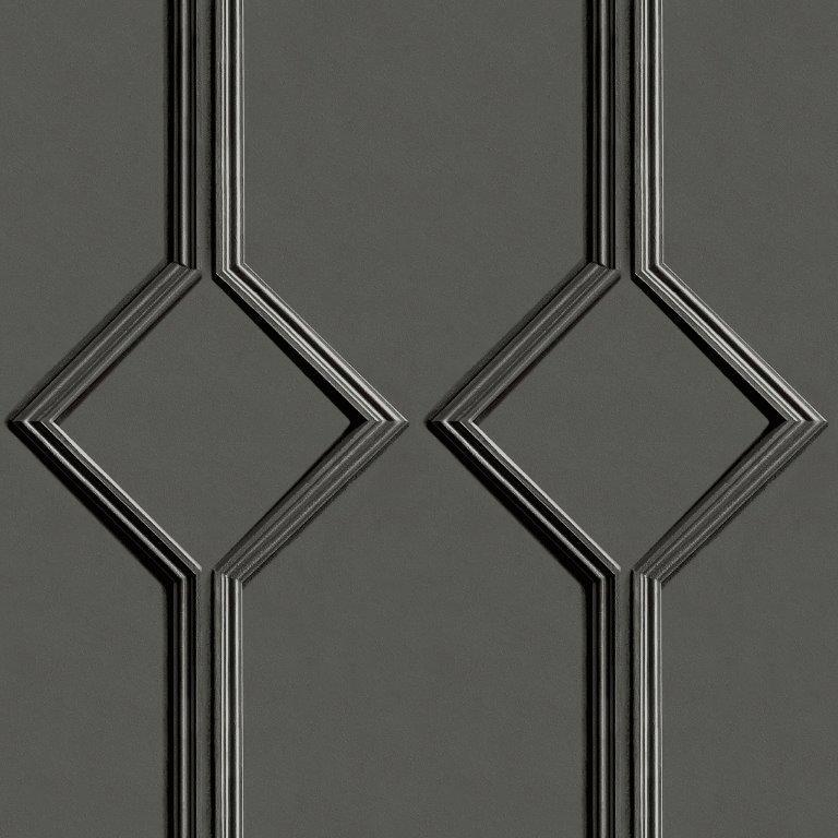 Azzurra Geometric Wood Panel Effect Wallpaper Charcoal