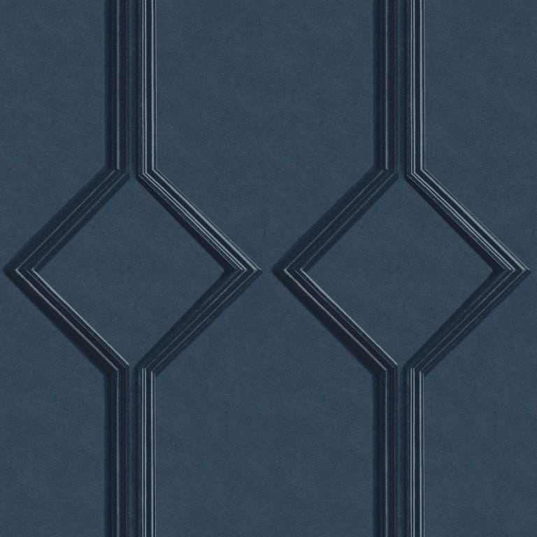 Azzurra Geometric Wood Panel Effect Wallpaper Navy