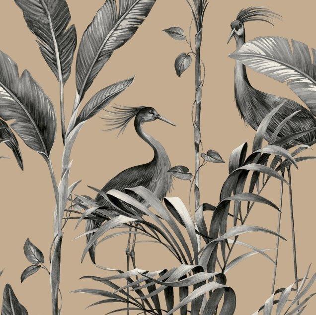 Azzurra Botanical Leaf And Crane Wallpaper Charcoal And Gold