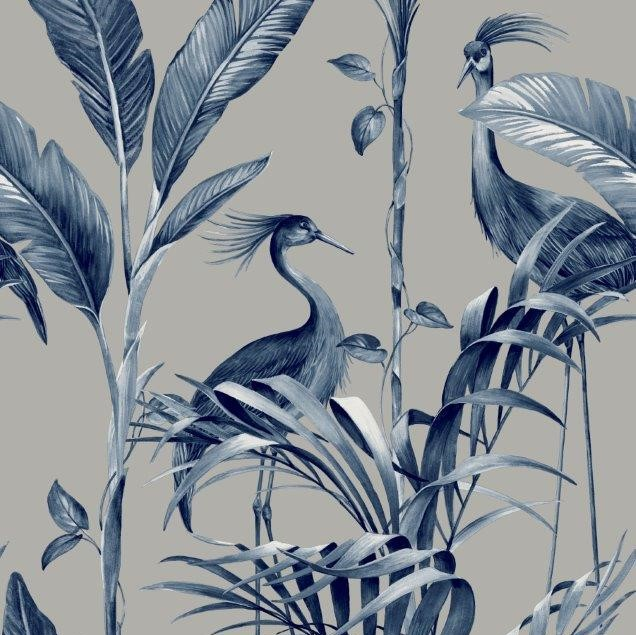 Azzurra Botanical Leaf And Crane Wallpaper Silver And Navy