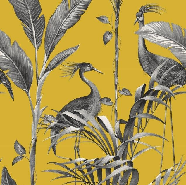 Azzurra Botanical Leaf And Crane Wallpaper Yellow