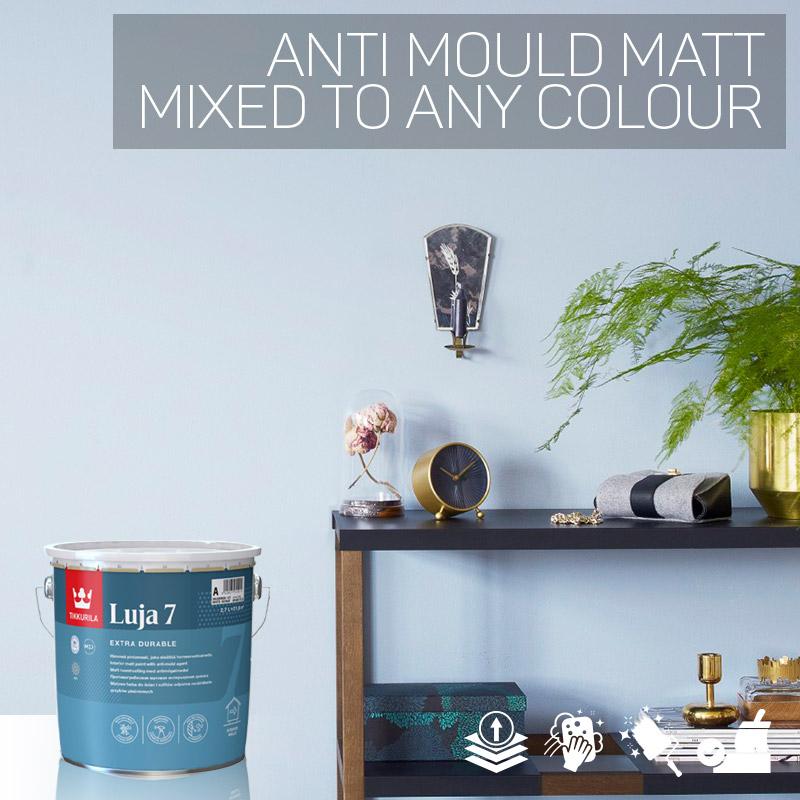Tikkurila Luja 7 Scrubbable Matt for Bathrooms & Wall Tiles - Colour Match