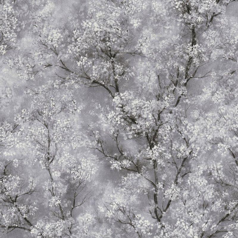 Glitter Tree Blossom Wallpaper Grey