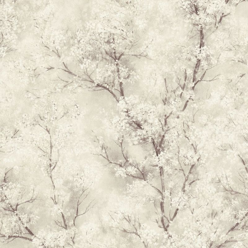 Glitter Tree Blossom Wallpaper Beige