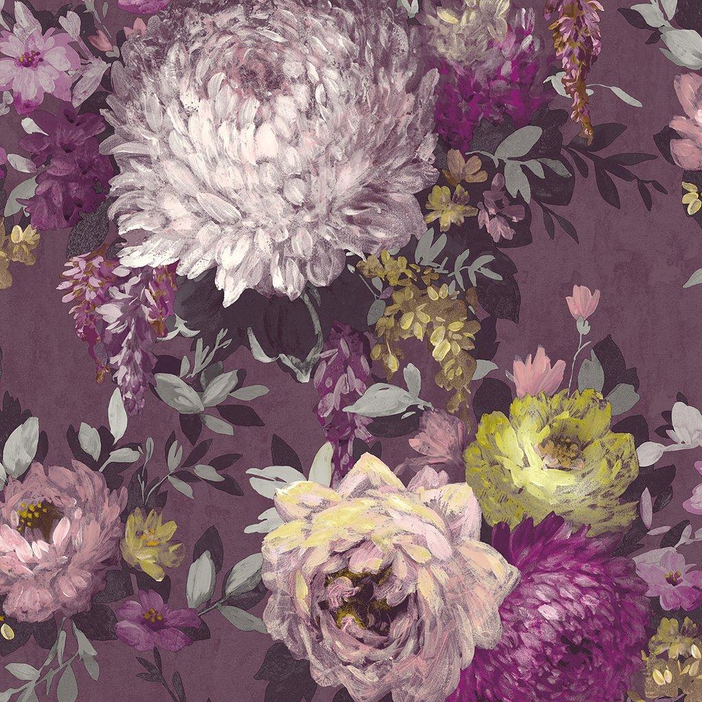 Azzurra Vintage Floral Wallpaper Mulberry Purple