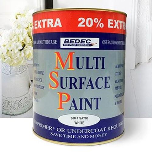 Bedec Multi Surface Paint Soft Satin White - 3L *20% Extra Free*