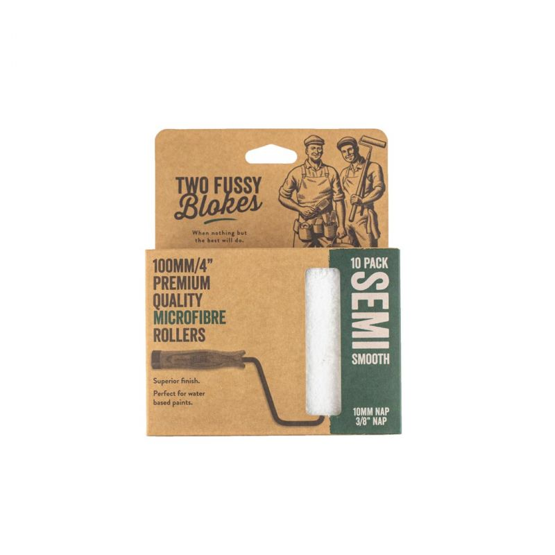 """Two Fussy Blokes Microfibre Mini 4"""" Semi Smooth Paint Rollers - 10 Pack"""