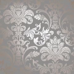 Glistening Metallic Damask Wallpaper Dark Grey & Rose Gold