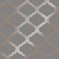 Glistening Metallic Geo Trellis Wallpaper Dark Grey & Rose Gold