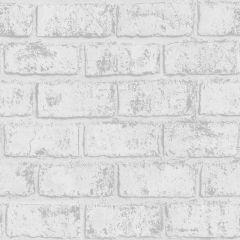 Glistening Brick Wallpaper White/Silver
