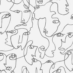 Abstract Line Drawn Faces Wallpaper Black & White