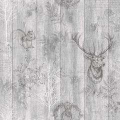 Stag Wood Panel Wallpaper Grey