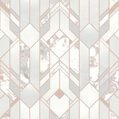 Elixir Geometric Marble Effect Wallpaper Rose Gold