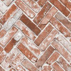 Herringbone Brick Effect Wallpaper Red