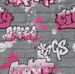 Kids Multi Graffiti Wallpaper Grey
