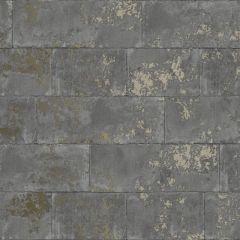 Metallic Concrete Brick Wallpaper Charcoal