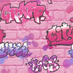Kids Multi Graffiti Wallpaper Pink