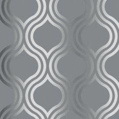 Platina Ogee Metallic Wallpaper Charcoal/Silver