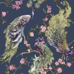 Menali Glitter Peacock Wallpaper Navy