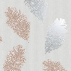 Astonia Feather Wallpaper Grey & Rose Gold
