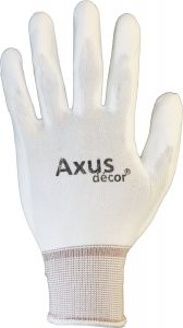Axus P.U Tex Palm Coated Painters White Gloves 3PCK L