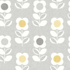 Retro Flower Linen Wallpaper Grey