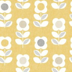 A yellow linen background with white retro flowers all over the surface.