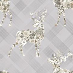 Calla Stag Floral Tartan Wallpaper Grey