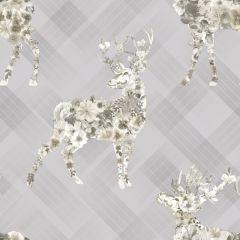 Calla Stag Floral Tartan Wallpaper Grey/Beige