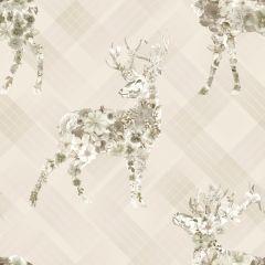 Calla Stag Floral Tartan Wallpaper Beige