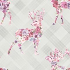 Calla Stag Floral Tartan Wallpaper Grey & Pink