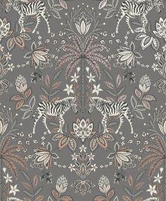 Etosha Jacobean Zebra Wallpaper Charcoal