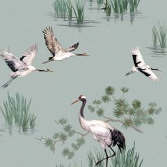 Heath Crane Wallpaper Duck Egg