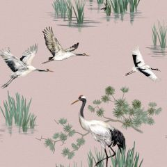 Heath Crane Wallpaper Pink