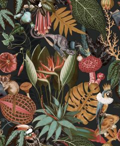 Wonderland Jungle Wallpaper Charcoal