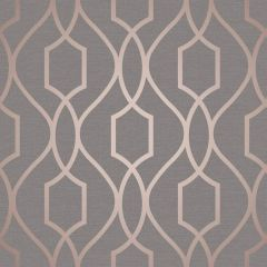 Apex Trellis Metallic Wallpaper Rose Gold & Grey