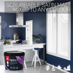 Tikkurila Optiva 7 Scrubbable Satin Matt for Walls & Ceilings - Colour Match
