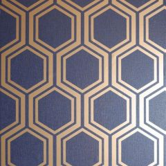 Luxe Hexagon Wallpaper Navy & Gold