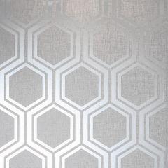 Luxe Hexagon Wallpaper Light Grey and Silver
