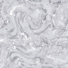 A silver marble metallic design with swirls of grey and silver all over the surface.