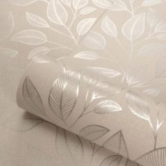 Rosemoor Metallic Leaf Wallpaper Silver