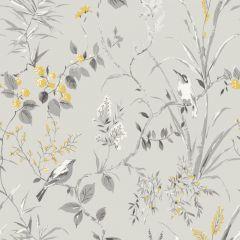 Mariko Floral Bird Wallpaper Grey & Yellow