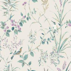 Mariko Floral Bird Wallpaper Teal & Plum