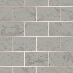 Metro Brick Marble Metallic Wallpaper Charcoal
