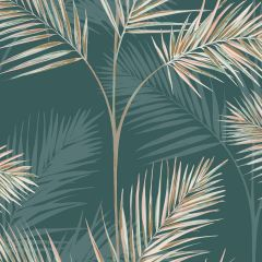 South Beach Exotic Palm Leaf Wallpaper Green